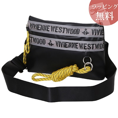 ヴィヴィアンウエストウッド バッグ サコッシュバッグ ショルダー ファスナープリント ブラック Vivienne Westwood