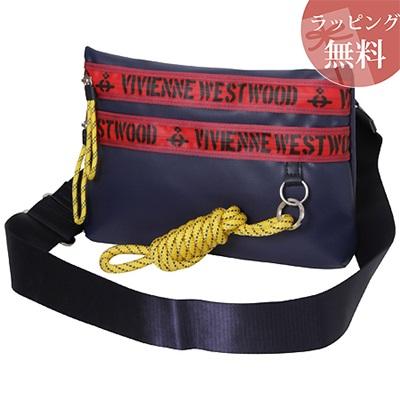 ヴィヴィアンウエストウッド バッグ サコッシュバッグ ショルダー ファスナープリント ネイビー Vivienne Westwood