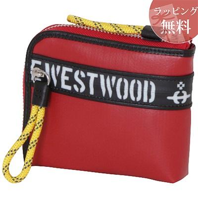 ヴィヴィアンウエストウッド 財布 折財布 二つ折り ファスナープリント レッド Vivienne Westwood