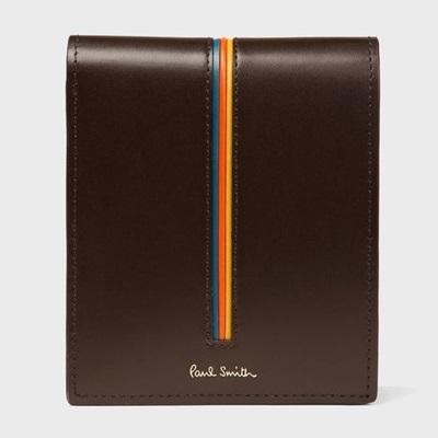 ポールスミス 折財布 ストライプエッジ 2つ折り財布 ダークブラウン Paul Smith