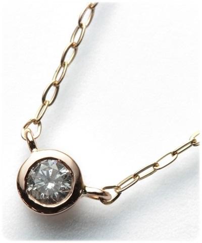 4℃ ヨンドシー 0.07ctダイヤモンドベゼル ピンクゴールドネックレス