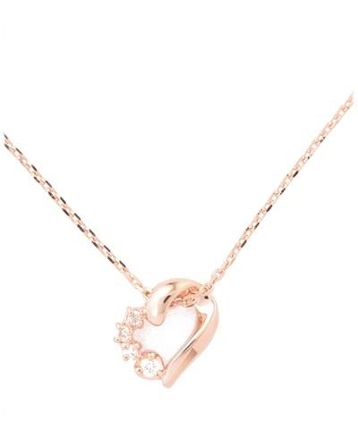 4℃ ヨンドシーシルバーオープンハートダイヤモンド(PGコーティング)ネックレス