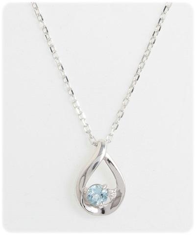 4℃ ヨンドシー4℃エターナルシルバー ダイヤモンド アクアマリンしずくネックレス