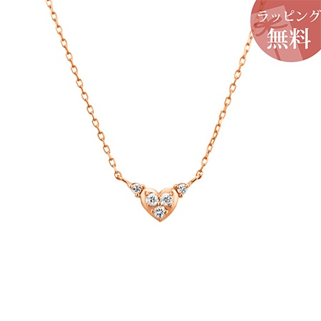 ヨンドシー ネックレス 4月誕生石 ダイヤモンド ハートシェイプ K10ピンクゴールド 4℃