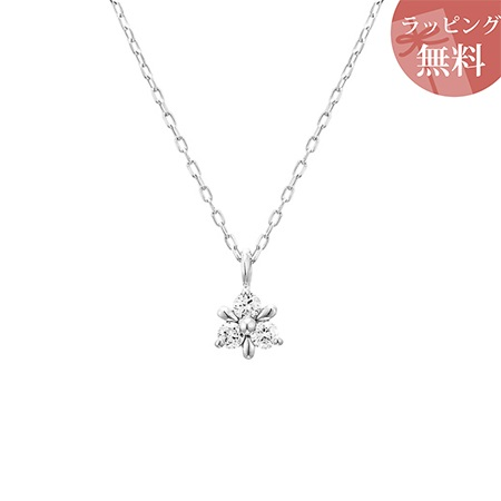 ヨンドシー ネックレス ダイヤモンド 小花 K10ホワイトゴールド 4℃