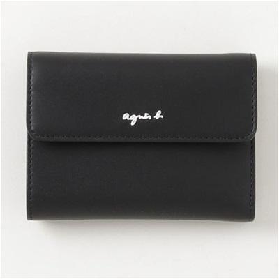アニエスべー 財布 折財布 三つ折り ブラック agnes b