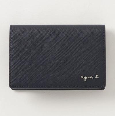 アニエスべー カードケース ネイビー agnes b