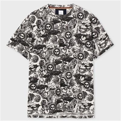 ポールスミス Psychedelic Sun オールオーバープリントTシャツ ホワイト S