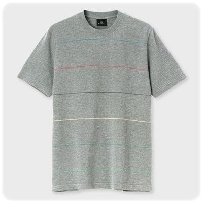 ポールスミス Paul Smith Tシャツ マルチボーダー グレー L