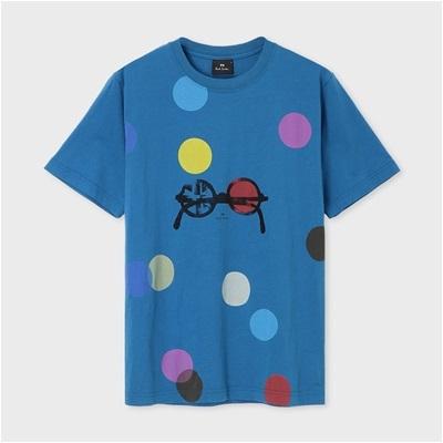 ポールスミス ドット&サングラス プリントTシャツ ブルー L