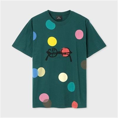 ポールスミス ドット&サングラス プリントTシャツ グリーン M