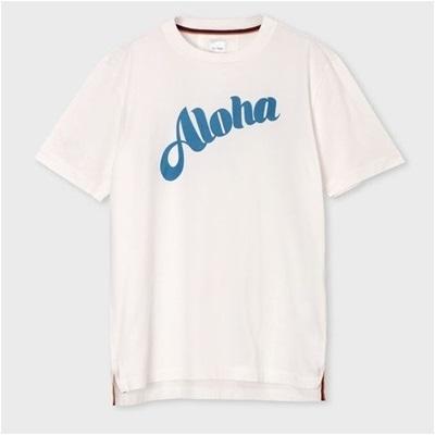 ポールスミス Aloha プリント Tシャツ ブルー XL