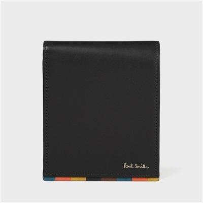 ポールスミス ブライトストライプトリム 2つ折り財布 ブラック