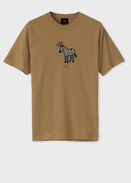 ポールスミス Tシャツ Angel ring Zebra プリントオーガニックコットン ブラウン L Paul Smith