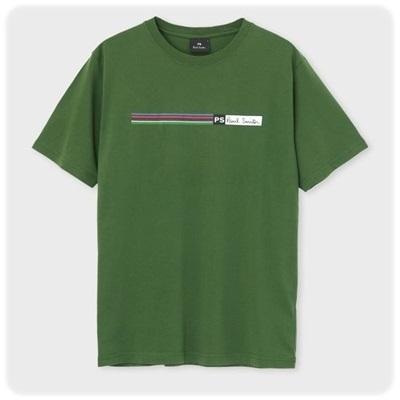 ポールスミス Tシャツ Cycle Stripe プリント グリーン L