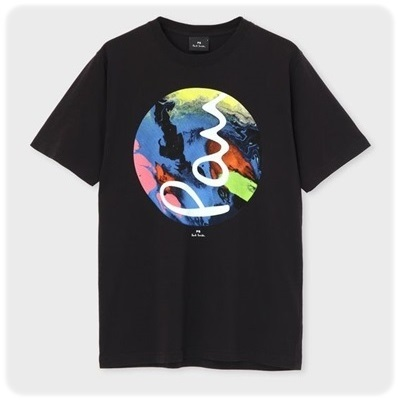 ポールスミス Tシャツ マーブリングプリント ブラック L
