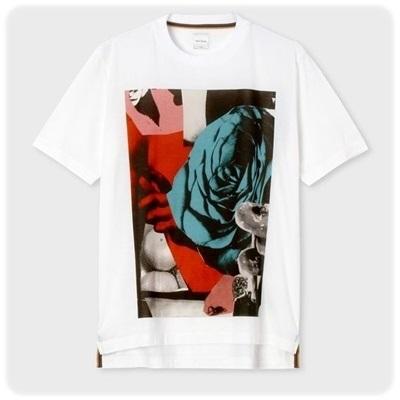 ポールスミス Tシャツ Rose Collage パネルプリント ホワイト L