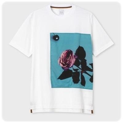 ポールスミス Tシャツ Applique Rose パネルプリント ホワイト S