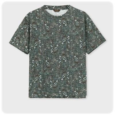 ポールスミス Tシャツ スワーリングアイビープリント  ネイビー M