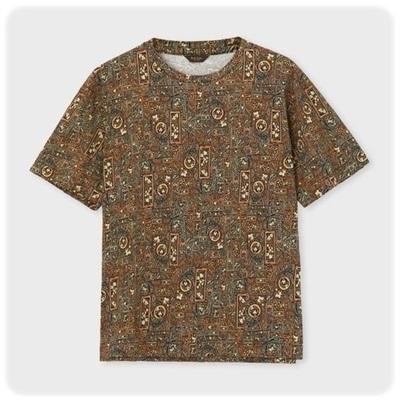 ポールスミス Tシャツ スワーリングアイビープリント ブラウン L
