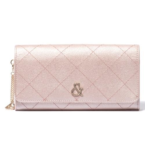 ピンキー&ダイアン 財布 長財布 薄型 かぶせ キャビア ピンク Pinky&Dianne