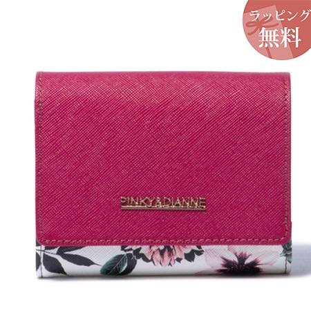 ピンキー&ダイアン 財布 折財布 シャドウフラワー L字ファスナー二つ折り財布 フーシャピンク Pinky&Dianne