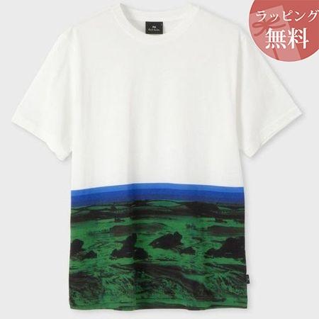 ポールスミス Tシャツ Landscape ボーダー ホワイト L Paul Smith