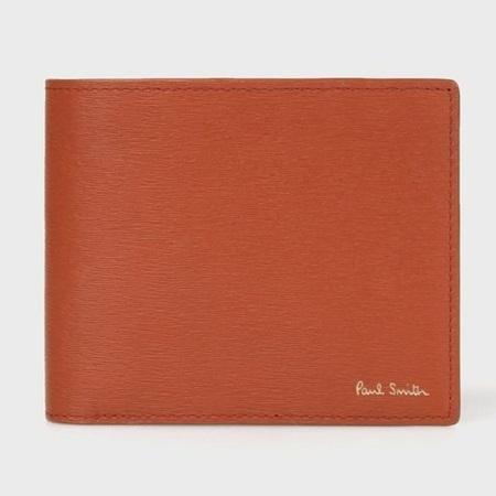 ポールスミス 財布 折財布 メンズ ストローグレインレザー 2つ折り財布 ブラウン Paul Smith ポール スミス