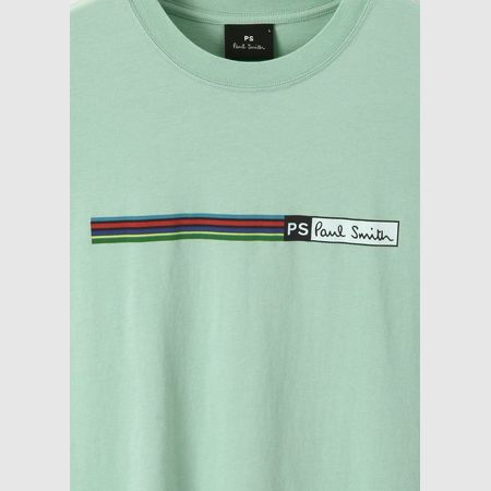 ポールスミス Tシャツ Sports Stripe プリント ライトグリーン XL Paul Smith