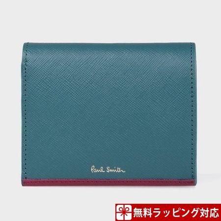 ポールスミス 財布 折財布 レディース サフィアーノ 2つ折り財布 ブルー Paul Smith