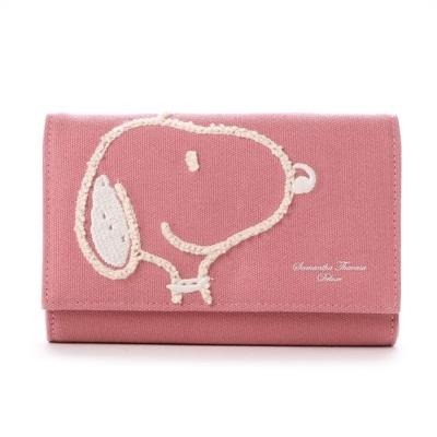 サマンサタバサ デラックス スヌーピーキャンバス小物 お財布ショルダー ピンク