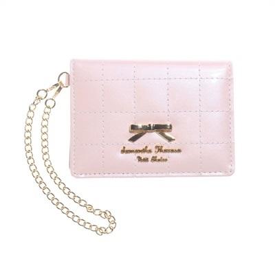 サマンサタバサプチチョイス キルティングリボンプレート パスケース 定期入れ ピンク
