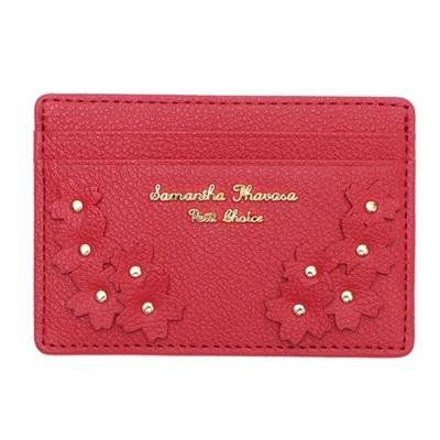 サマンサタバサプチチョイス Lara Collection 日本 サクラ柄お財布シリーズ パスケース 定期入れ レッド