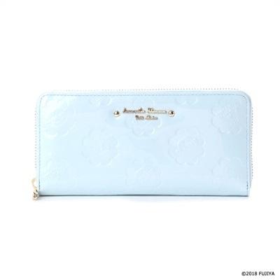 サマンサタバサプチチョイス ペココレクション エナメル型押し ラウンドジップ長財布 ブルー