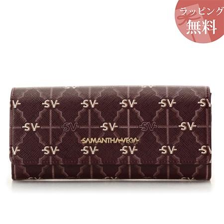 サマンサタバサ 財布 長財布 モノグラム フラップ ワインレッド Samantha Vega