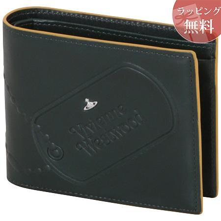 ヴィヴィアンウエストウッド 財布 折財布 二つ折り メンズ ドッグタグ グリーン Vivienne Westwood