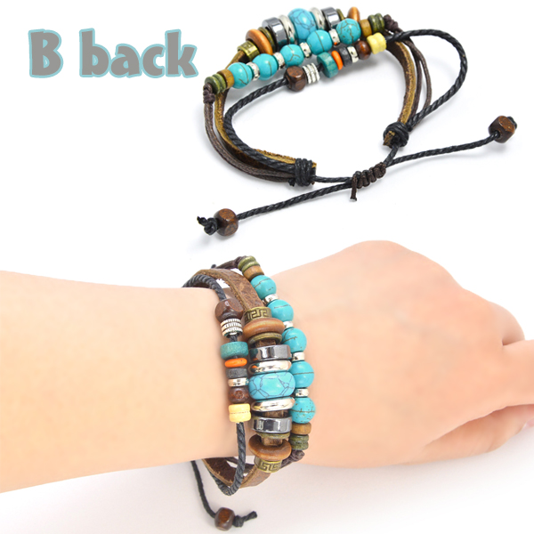 Bracelet ethnic beads cord fake leather stack pickles imitation turquoise Bohemian