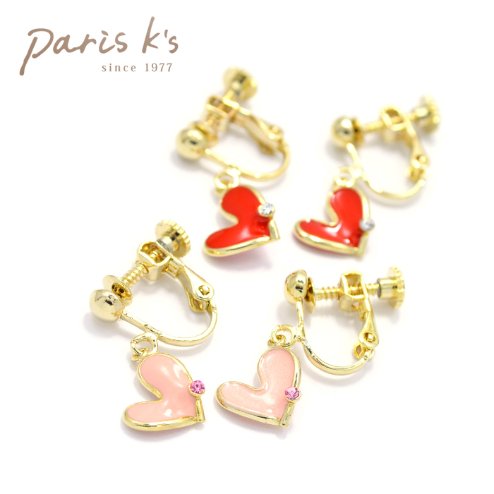 Heart One Stone Earrings Non Hall Pierced Like Kids Children Color S Colorful Shaped