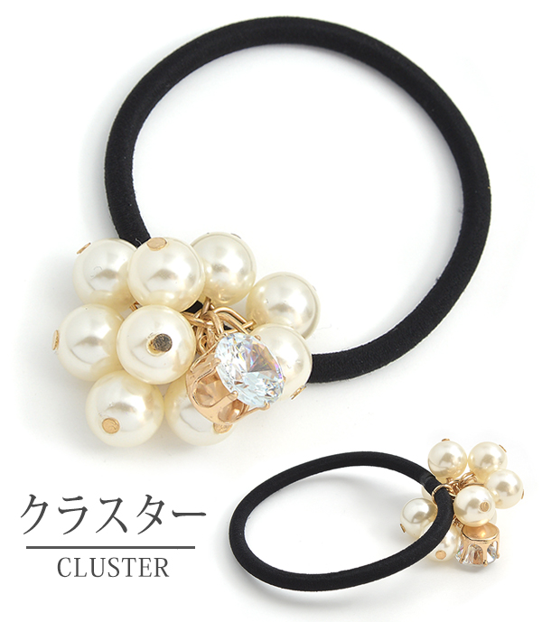 Hair rubber pearl design watermarks モチーフヘアアクセヘアアクセサリー hair slide gold silver refined adult