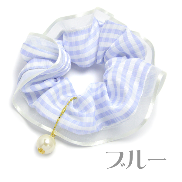 Chou chou hair accessories hair rubber pearl checked pattern pastel gingham check pink beige gray blue