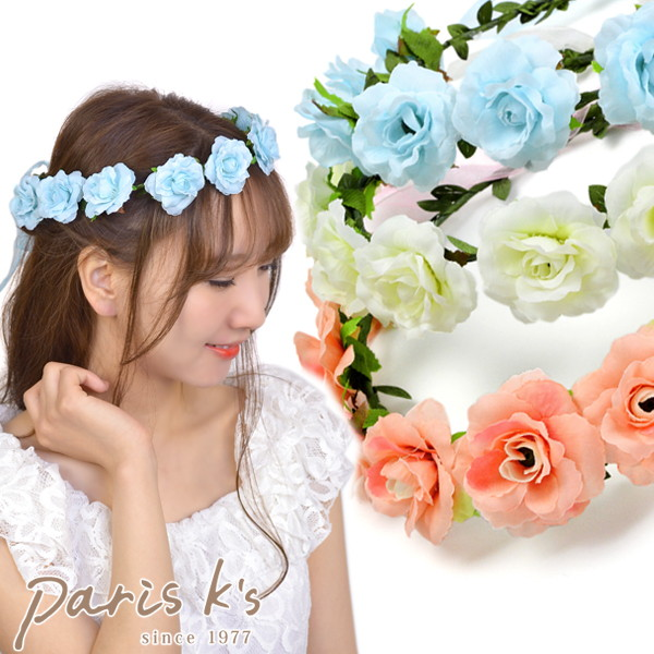 Flower crown corolla artificial flower flower tiara Rose flower ヘアアクセサリーヘアアクセヘッドアクセ
