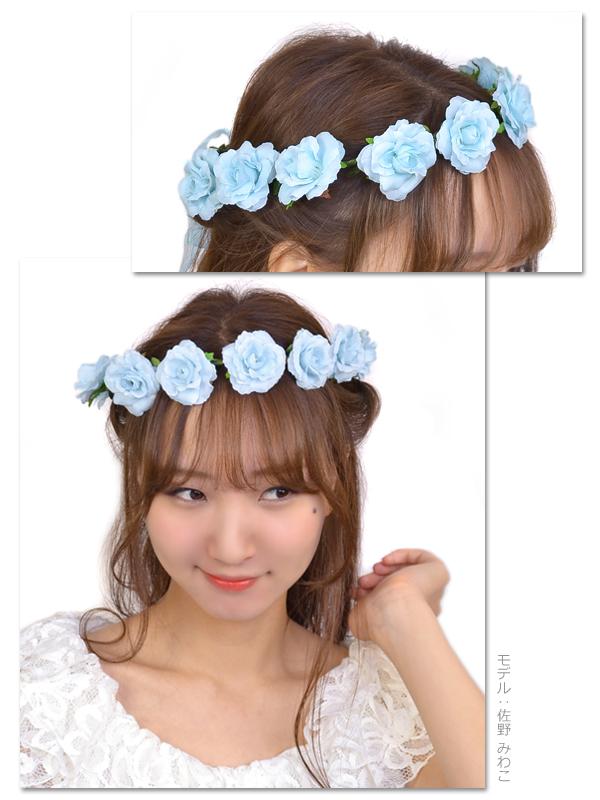 Flower crown corolla artificial flower flower tiara Rose flower ヘアアクセサリーヘアアクセヘッドアクセ