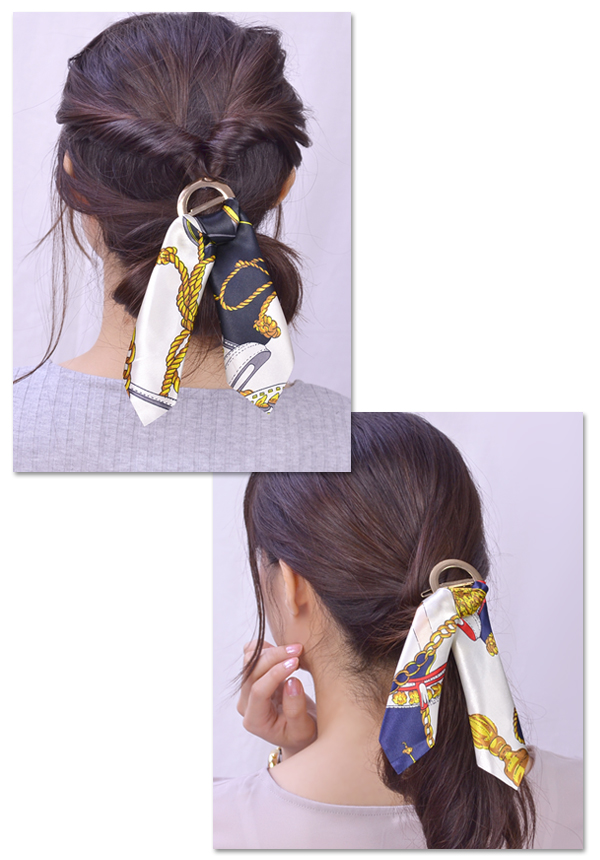 Barrette scarf pattern hair accessories ribbon りぼん dowel pin