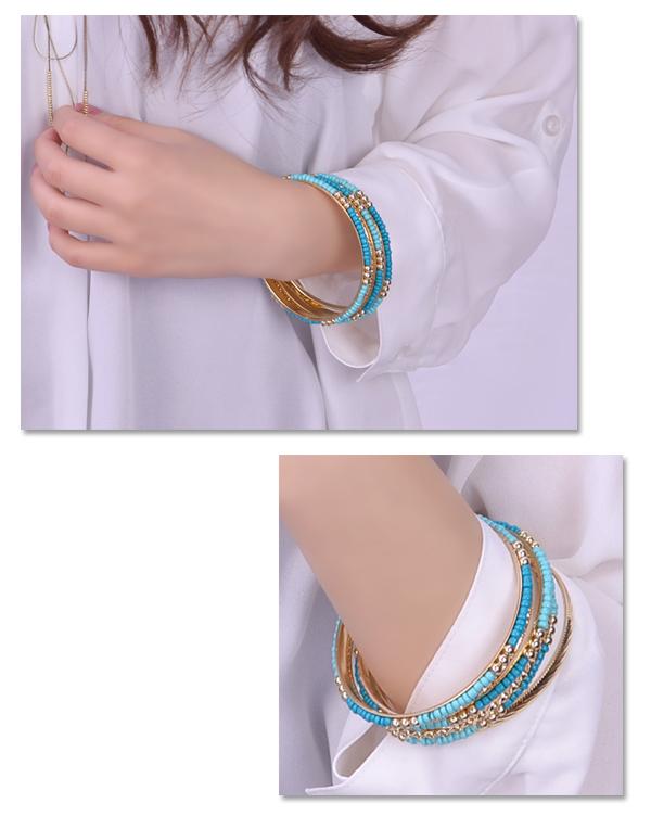 Bangle bracelet seven set ethnic stone turquoise color blue Luxury's