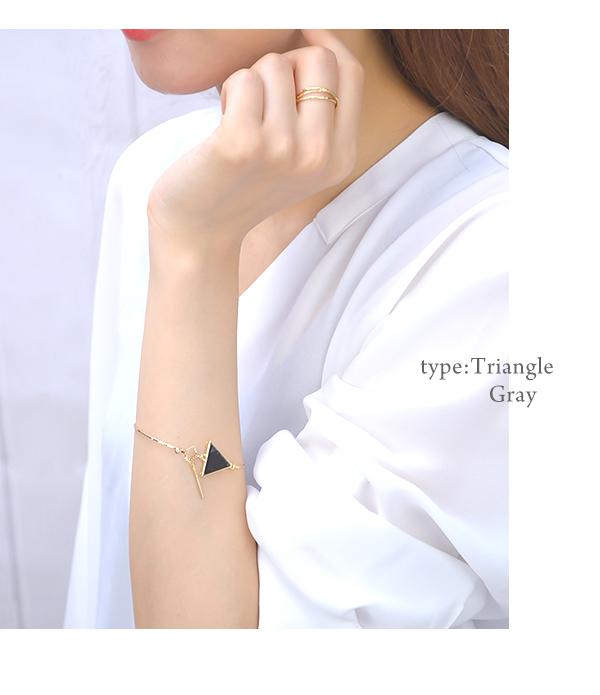 Bangle bracelet tortoiseshell-like delicate marble round triangle triangle Luxury's gold Shin pull