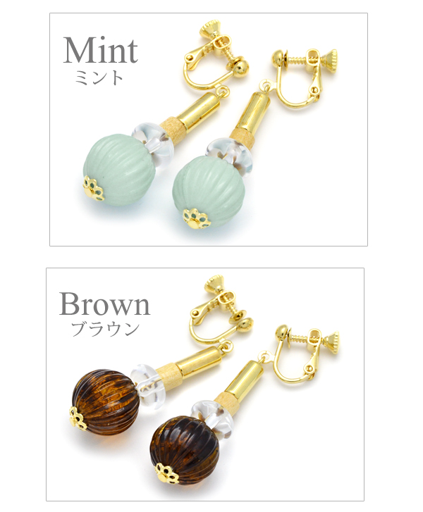 Pretty wedding ceremony handicraft Luxury's where the earrings pastel clear beads Luxury's white pink mint brown swing Lady's large drop of overswinging size volume motif which I hang, and an adult catch does not fall into which decides it, and shakes is