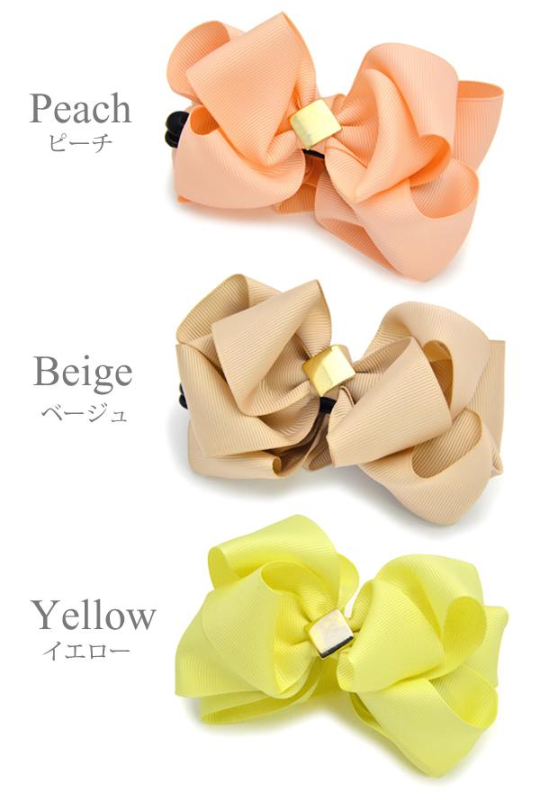 ■ Banana clip size grain ribbon hair accessories refined color Shin pull size Luxury's
