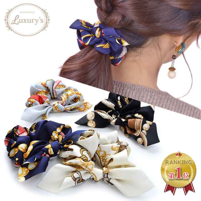 Chou chou scarf pattern りぼん hair accessories Luxury's ivory gray navy black