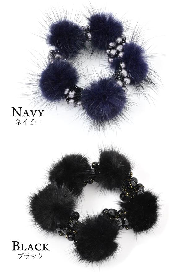 Chou chou hair rubber mink fur pearl Luxury's ヘアアクセサリーヘアアクセ refined lady's adult