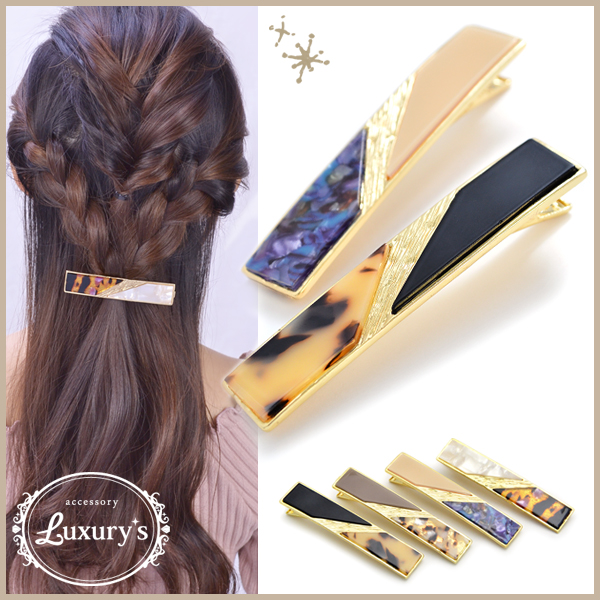 Barrette hair accessories square tortoiseshell-like marble by color gold Luxury's